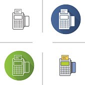 Pos terminal flat design, linear and color icons set. Store payment terminal with check and credit card