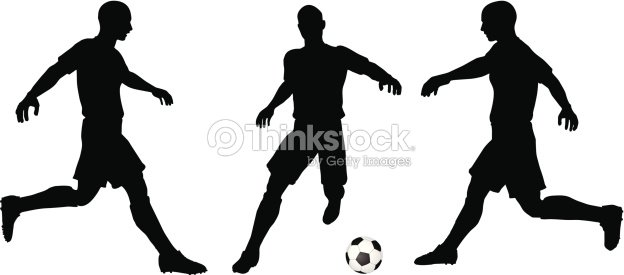 poses of soccer players silhouettes in running position vector art