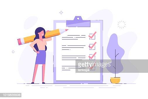 クリップボード紙にマークされたチェックリストの近くに彼の肩に巨大な鉛筆で肯定的なビジネスの女性。ビジネス タスクが正常に完了します。フラットのベクター イラストです。 : ベクトルアート