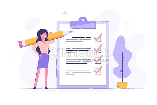 Positive business woman with a giant pencil on his shoulder nearby marked checklist on a clipboard paper. Successful completion of business tasks. Flat vector illustration. : stock vector