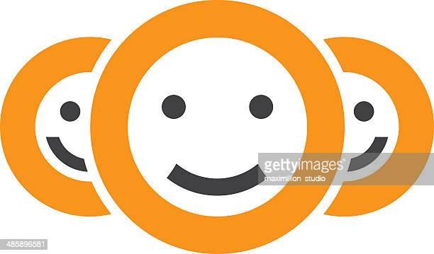 Positivity smiley circle of friendship button app logo icon