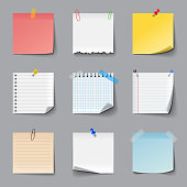 Post it notes icons detailed photo realistic vector set