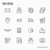 Post office related thin line icons set. Symbols of shipping, delivery, packaging. Vector illustration.