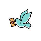 Post Pigeon Icon, Dove sign. Line art colorful design, Vector flat illustration