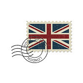 English flag postage stamp and postmark London. Realistic isolated vector illustration on white background.