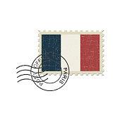 Postage stamp France flag . Vector illustration.