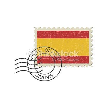 Postage Stamp Spain Flag Vector Art