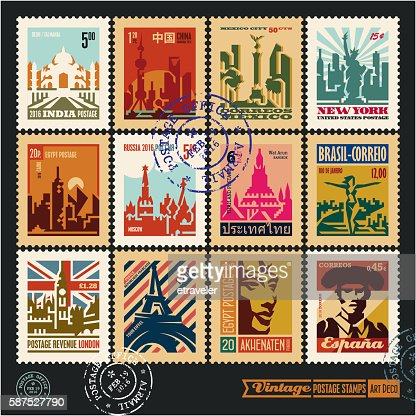 postage stamps, cities of the world, travel labels : Vector Art