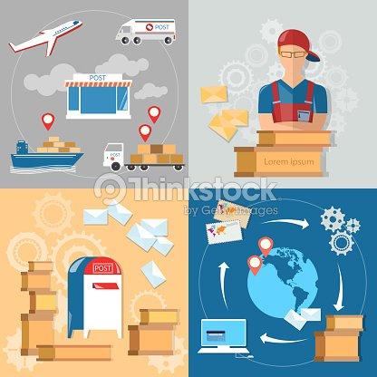 Service de la poste post office facteur ensemble clipart vectoriel thinkstock - Post office insurance services ...
