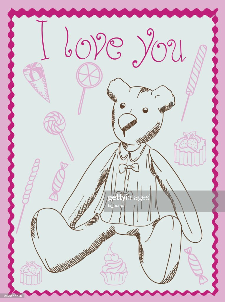 Carte postale bear : Clipart vectoriel