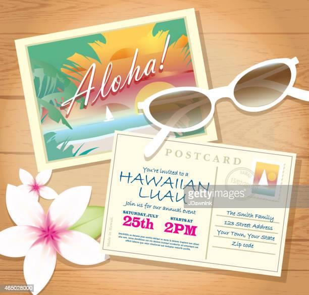 Postkarte Hawaiian Luau Einladung design-Vorlage auf Holz