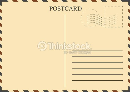 Postcard Template Vintage With Stamps