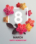 Postcard to March 8, with paper flowers. Illustration can be used in the newsletter, brochures, postcards, tickets, advertisements, banners. Congratulations to the Women's Day.