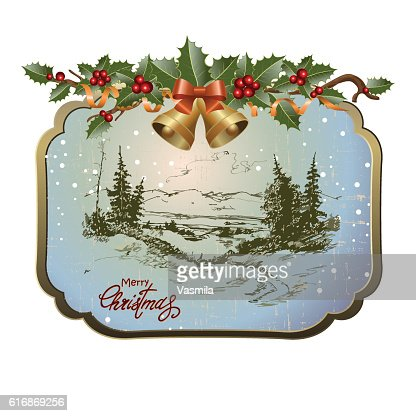 postcard with Christmas landscape : Vector Art