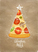 Poster christmas tree pizza with star on top with lettering drawing on craft background.