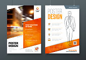 Poster design. A3, A2, A1. Orange Corporate business template for poster, banner, placard, billboard, movie poster. Layout with modern elements and abstract triangle background. Creative concept