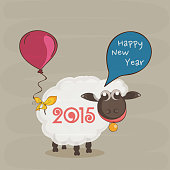 Sheep with 2015 numbers, speech bubble of Happy New Year and balloon, can be use us poster, banner, flyer or greeting card.