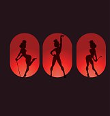 Poster design pin up style silhouette of dancing woman perform cabaret burlesque show
