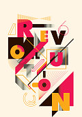 Abstract style poster design with typography and geometric shapes. Vector illustration.