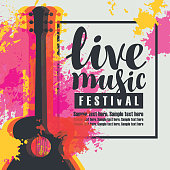 Vector poster for a live music festival or concert with multicolor acoustic guitar on abstract colored background, lettering live music and place for text