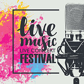 Vector poster for a live music festival with a realistic microphone on abstract background of bright colored spots