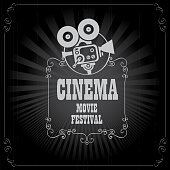 Vector cinema movie festival poster with old fashioned movie camera in retro style. Can used for banner, poster, web page, background
