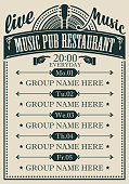 Vector poster for the music pub restaurant with live music with image of guitar. A daily schedule of performances of music groups in retro style