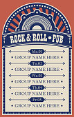 Vector poster for music rock and roll pub with acoustic speaker. A daily schedule of performances of music groups in retro style