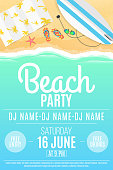 Poster for the Beach Party. Set of summer things. Top view. Text on sea water. Sunglasses, surfboard. Invitation card for the party. The name of the DJ. Vector illustration
