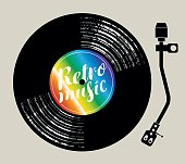 Vector poster for the retro music with vinyl record and record player