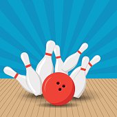 Poster games in the bowling club. Vector background design with strike at alley ball skittles. Flat illustration