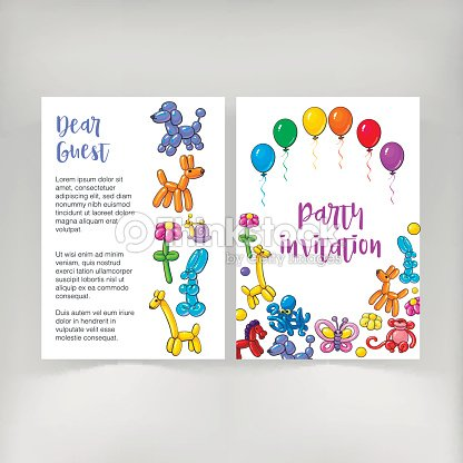 poster leaflet invitation design with twisted balloon animals