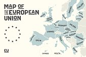 Poster map of the European Union with country names and capitals. Print map of EU for web and polygraphy, on business, ecomomic, political, Brexit and geography themes. Vector Illustration