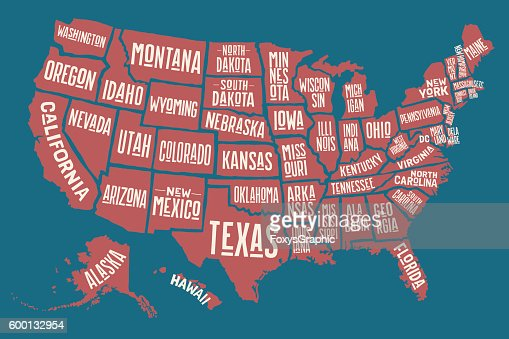 Poster Map United States Of America With State Names Vector Art