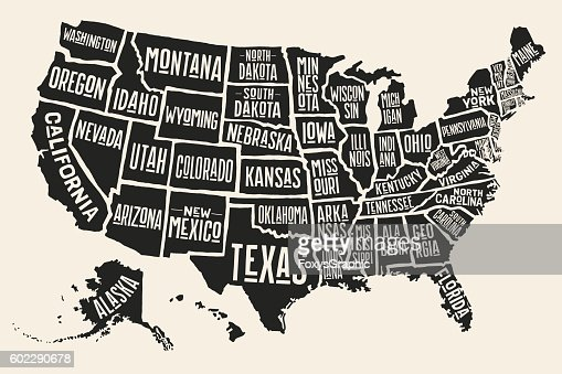 Poster map United States of America with state names : Clipart vectoriel