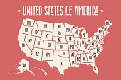 Poster map of United States of America with state names. Print map of USA for t-shirt, poster or geographic themes design. Hand-drawn map with states. Vector Illustration