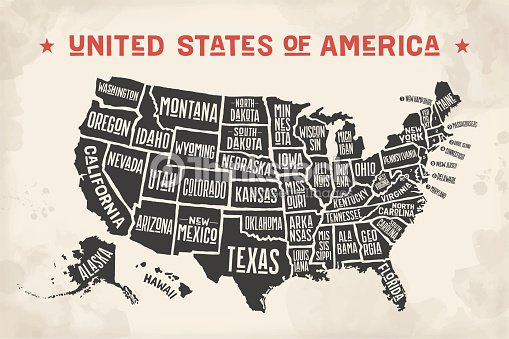 Poster Map United States Of America With State Names Vector Art ...