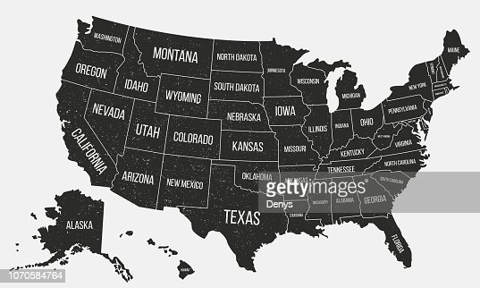 Usa Poster Map With State Names United States Of America Map With