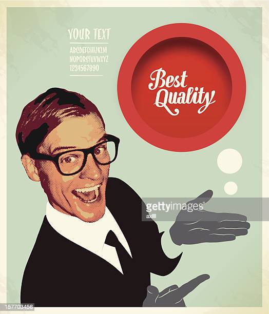 A poster of a salesman presenting a best quality button