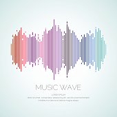 Poster of the sound wave from equalizer. Vector illustration on dark background