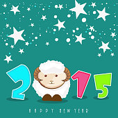 Kiddish poster for Happy New Year 2015 celebration with sheep and stars on green background.