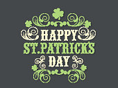 Floral design decorated poster or banner design for Happy St. Patrick's Day celebration.