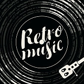 Black and white vector poster for the retro music with vinyl record, record player and calligraphic inscription