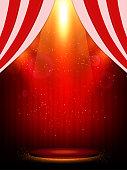 Poster Template with scene and spotlights. Design for presentation, banner, concert, show. Vector illustration