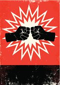 Red and black poster with two fists