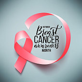 Poster with handdrawn lettering. Realistic pink ribbon. Symbol of breast cancer awareness month in october. Vector illustration.
