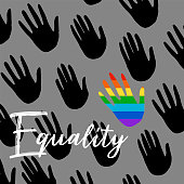 Poster with hands and quote equality. Flag of pride spectrum, homosexuality, equality emblem. Parades event announcement banner, poster typographic vector design.