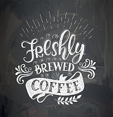 Banner of coffee with lettering . Poster with inscription about coffee drinks. Vector illustration.