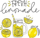 Poster with lemonade elements glass. Lettering fresh lemonade drawing