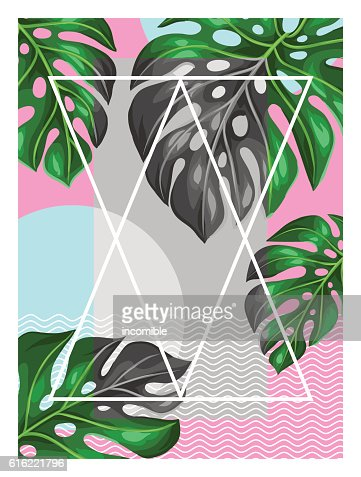 Poster with monstera leaves. Decorative image of tropical foliage : Vector Art